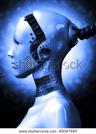 Robotic Woman from outer space - stock photo