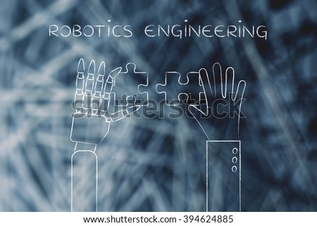 robotics engineering: human and robot hands solving a puzzle - stock photo