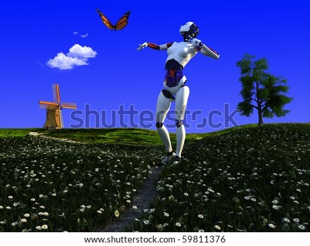 Robots and butterflies on the green grass. - stock photo