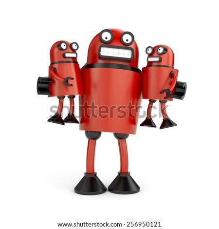 Robots family - stock photo