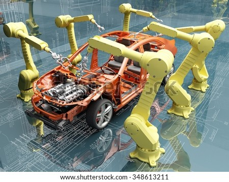 Robots group collected modern car. - stock photo