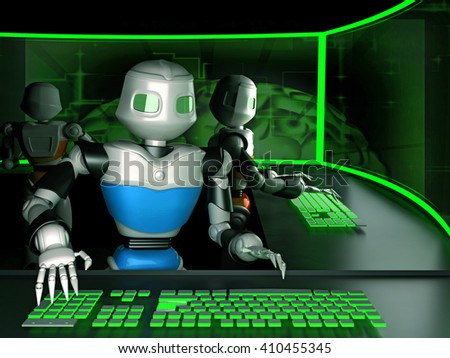 Robots like the people working in the office. Artificial intelligence and new technologies. 3d render. - stock photo