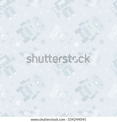 Robots seamless pattern against the pale-blue background - stock photo