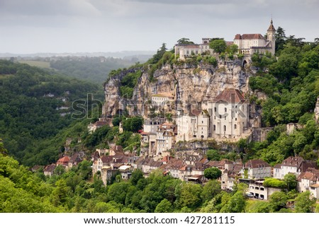 Rocamadour, a village in southwestern France. - stock photo