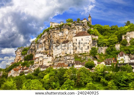 Rocamadour - beautiful french village and castles on cliff - stock photo