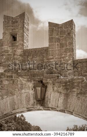 Rocca della Guaita, the most ancient fortress of San Marino, Italy. Old style. Sepia - stock photo