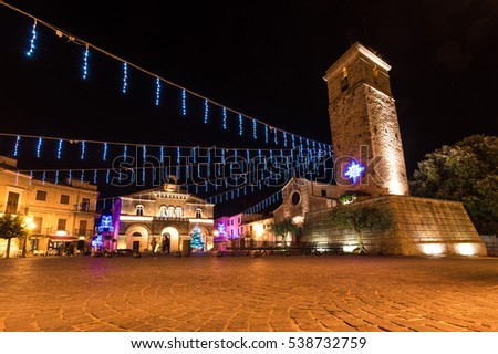 ROCCA SAN GIOVANNI, ITALY - 17 DECEMBER 2016 - A small medieval village in province of Chieti, with a lovely old town, here decorated for the holiday season, with nativity scene and Christmas tree.