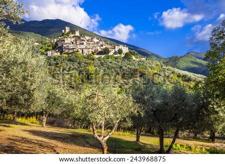 Roccantica - typical hil top village in Italy.  Rieti region - stock photo