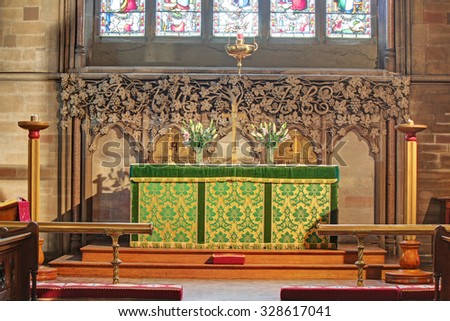 ROCHDALE, UK - OCTOBER 17, 2015: Altar. Church of St. Edmund, Falinge,  is a redundant church building and was commissioned by Rochdale's local industrialist and Freemason Albert Royds, - stock photo