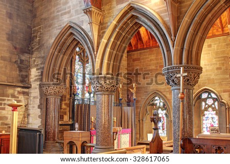 ROCHDALE, UK - OCTOBER 17, 2015: Side chapel. Church of St. Edmund, Falinge,  is a redundant church building and was commissioned by Rochdale's local industrialist and Freemason Albert Royds,