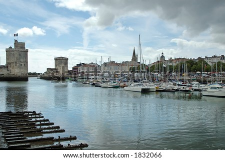 Rochelle, exit of the harbour with La Chaîne and St Nicolas (left) towers. - stock photo