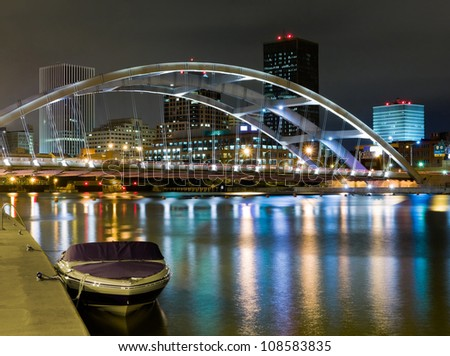 Rochester at night, New York State - stock photo