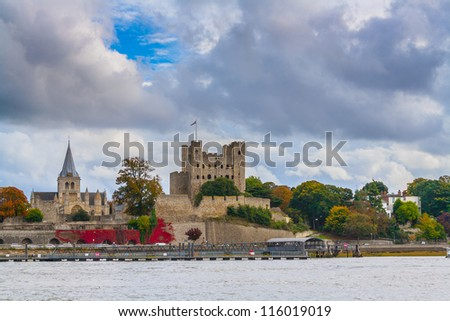 Rochester Castle and Cathedral Kent UK viewed across the River Medway. - stock photo