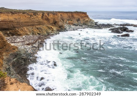 Rock and geological formations along the rugged Big Sur coastline, near Monterey, CA. on the California Central Coast. - stock photo