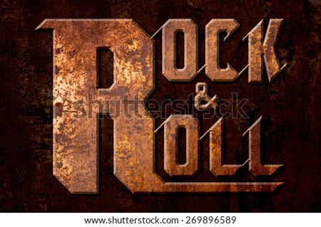 rock and roll concept on metal rust background - stock photo