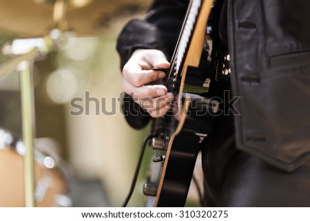 rock and roll concert, selective focus - stock photo