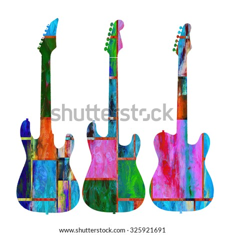 Rock and roll guitars graphic artwork. - stock photo