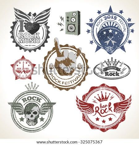 Rock Roll Music Festival Symbols Stamps Stock Illustration 325075367