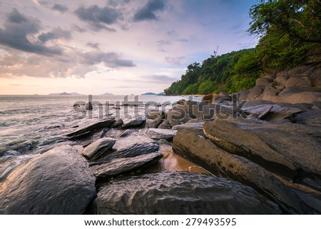 Rock and seascape at sunset time. Phangnga, Thailand. - stock photo