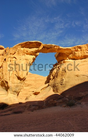Rock Arch in Wadi Rum, Jordan. - stock photo