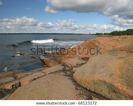 Rock beach - stock photo