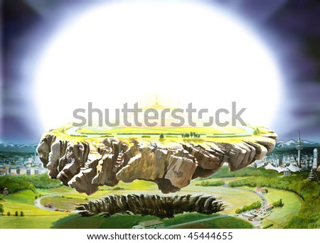 Rock breaking out the ground and lift up in the air with glowing platform - stock photo