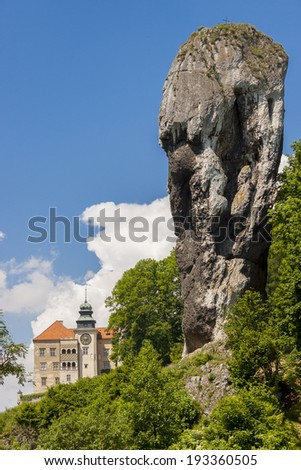 Rock called Maczuga Herkulesa in National Ojcow Park, Poland - stock photo