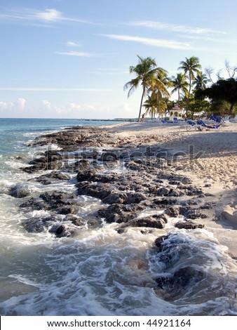 Rock caribbean beach - stock photo