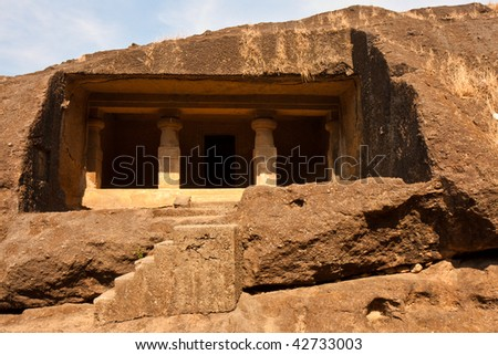 Rock Cell at Kanheri Caves in Sanjay Gandhi National Park, Mumbai. - stock photo