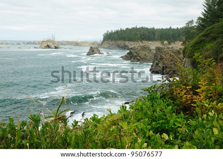 rock cliffs in shore acres state park, oregon, usa - stock photo