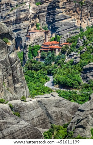 Rock cliffs (60 million years old) in deltaic plains of Meteora. Cliffs rise to a height of 400 meters. They are situated in Pineios Valley within Thessalian plains close to town of Kalambaka. Greece.