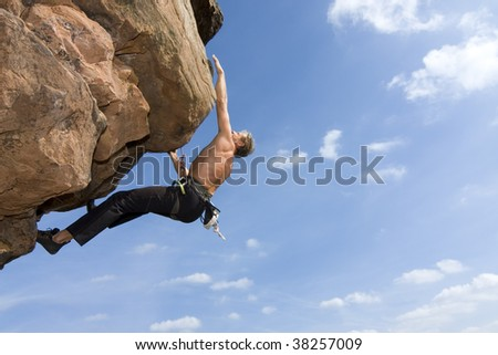 Rock climber Norbert Frank climbing at the Windstein - Vosges - France. - stock photo