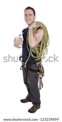 rock climber with equipment including rope, harness and helmet isolated on white - stock photo