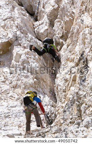 Rock climbing in the dolomites in south tyrol