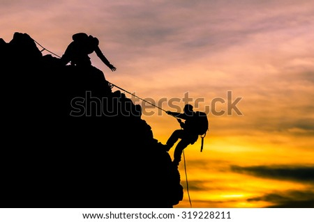 rock climbing, rope climbing - stock photo