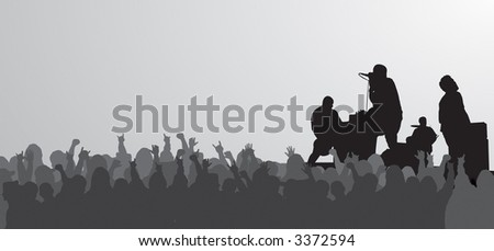 Rock concert silhouette with jam packed crowd. - stock photo