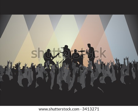 Rock concert silhouette with lights and crowd. Great for a background and placing text. - stock photo