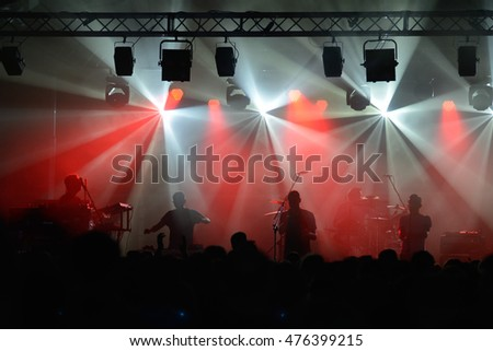 Rock concert, stage full of light