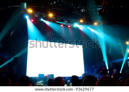 Rock concert, white screen isolated.  (clipping path) - stock photo