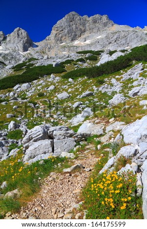 Rock covered mountains along narrow trail in sunny weather