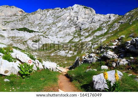 Rock covered mountains along narrow trail in sunny weather - stock photo