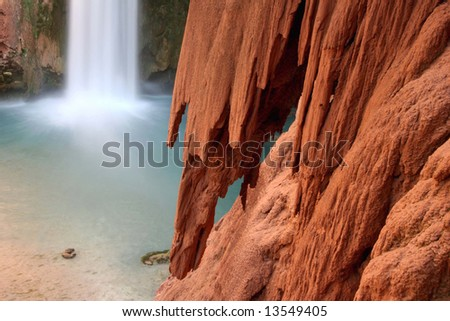 Rock detail of rock formation from famous landmark Mooney Falls located on the Havasupai Indian Reservation. Arizona. America - stock photo
