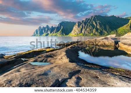 Rock Devil's Jaw. Norwey,island Senja - stock photo