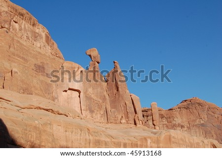 rock formation at arches national park in utah - stock photo