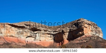 Rock formation at Golden Gate South Africa  against a bright blue sky - stock photo