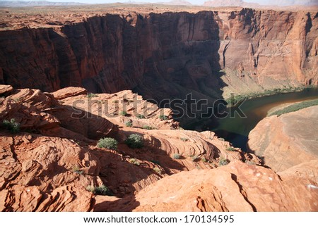 Rock formation at the Horseshoe bend in Utah, USA - stock photo