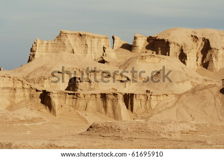 Rock formation in Lut desert. Dasht-e Lut (Emptiness Desert), or Lut Desert (also Kalut desert), one of the driest and hottest places in the world.  It belongs to the world's 25th largest deserts.