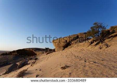 Rock formation in Namib desert in sunset, landscape, Vogelfederberg, Namibia, Africa  - stock photo