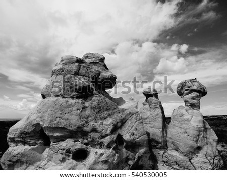 Rock formation near Aztec New Mexico in Black & White