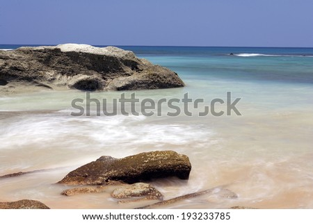 Rock formation on beach at havlock islands, Andaman and nicobar islands, India - stock photo
